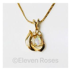 14k Gold Opal & Diamonds
